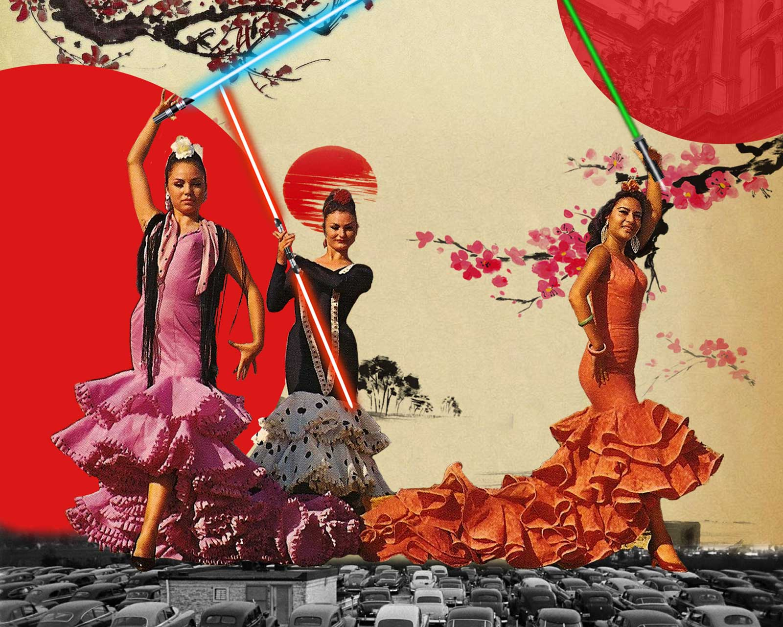 retro collage arte, collage art designs pop art style flamenco pop art girls