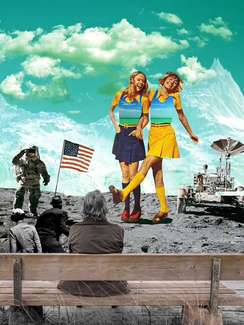 retro collage art dancing on the moon vintage photomontage